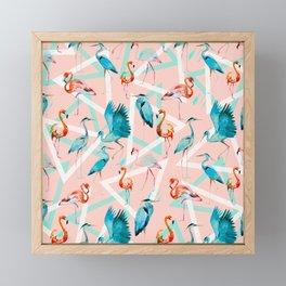 Pattern flamingos & triangles Framed Mini Art Print