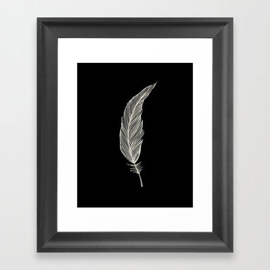 One Feather - White & Black Framed Art Print