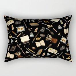 Creative Artist Tools - Watercolor on Black Rectangular Pillow