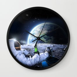 Astronaut on the Moon with beer Wall Clock