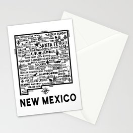 New Mexico Map  Stationery Cards