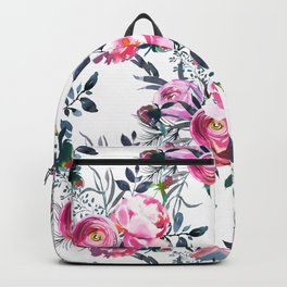 Modern hand painted blush pink yellow gray watercolor floral Backpack
