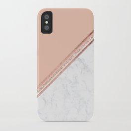 Modern stylish rose gold glitter geometric stripes blush pink white marble color block iPhone Case