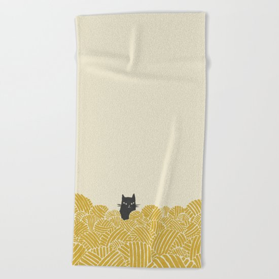 Cat and Yarn Beach Towel