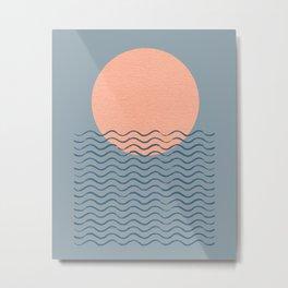 Ocean Wave Sun Blue - Mid Century Modern Metal Print