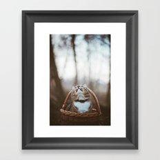 Cat in a basket Framed Art Print