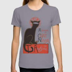 A French Ninja Cat (Le Chat Ninja) Slate MEDIUM Womens Fitted Tee