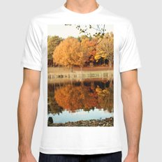 Fall Reflections White Mens Fitted Tee MEDIUM