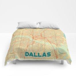 Dallas Map Retro Comforters