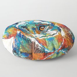 Colorful Chimp Art - Monkey Business - By Sharon Cummings Floor Pillow