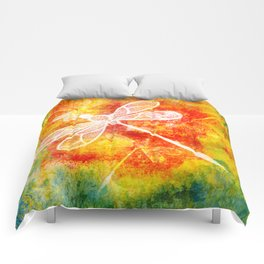 Dragonfly in embroidered beauty Comforters