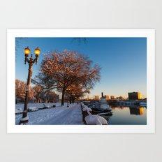 Snow: Portland Waterfront Art Print