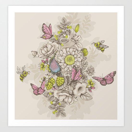 Beauty (eye of the beholder) - cream version Art Print