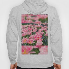 Blue forget-me-nots with pink tulips mix Hoody