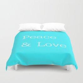 Peace & Love Aqua Duvet Cover