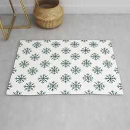 Snowflakes (Dark Green & White Pattern) Rug