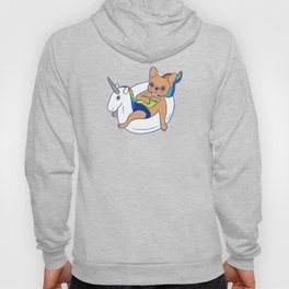 Frenchie enjoys summer on unicorn pool float in swimming pool Hoody
