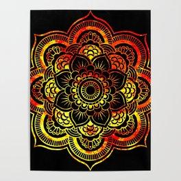 Fiery Sun Mandala Poster