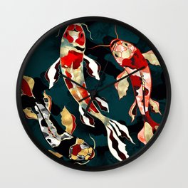 Metallic Koi Wall Clock