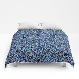 Calaveras del Dia de los Muertos azules. Comforters