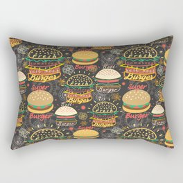 Graphic seamless pattern bright tasty burgers on a dark background Rectangular Pillow