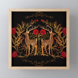 Two Stags Protecting The Dark Forest Gate Framed Mini Art Print
