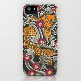 Japanese Koi Fish and Cherry Blossoms Tattoo Art iPhone Case