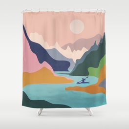 River Canyon Kayaking Shower Curtain