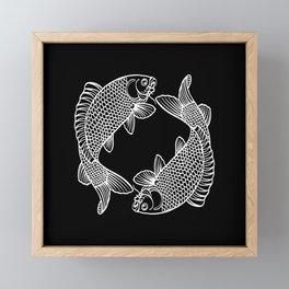 Black White Koi Minimalist Framed Mini Art Print