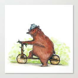 Bear Bike Canvas Print