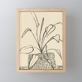 Line drawing leaves Framed Mini Art Print