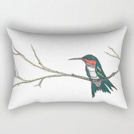 Hummingbird on a branch Rectangular Pillow