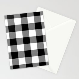 Black and White Buffalo Plaid Stationery Cards