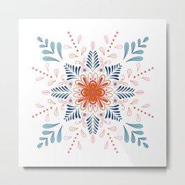 Modern Mandala No.1 in Feisty Orange Metal Print