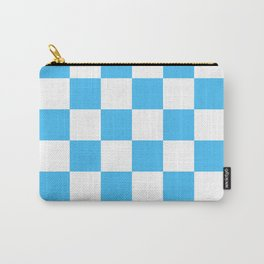 Cheerful Blue Checkerboard Pattern Carry-All Pouch