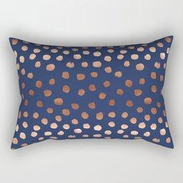 Rose Gold navy polka dot painted metallic pattern basic minimal pattern print Rectangular Pillow