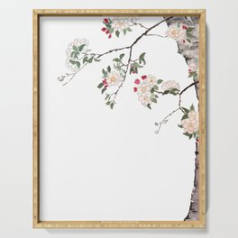 pink cherry blossom Japanese woodblock prints style Serving Tray