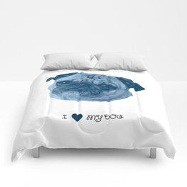 I love my dog - Pug, blue Comforters