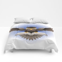 Brown Owl fly with the book Comforters