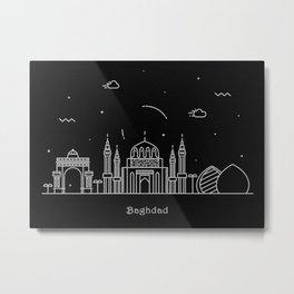 Baghdad Minimalist Skyline Drawing Metal Print