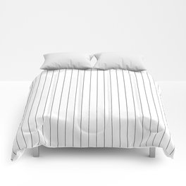 White Black Pinstripes Minimalist Comforters