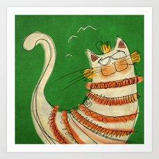 Cat - green Art Print