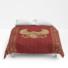 Eye of Horus - Wadjet Gold on Red Leather Comforters