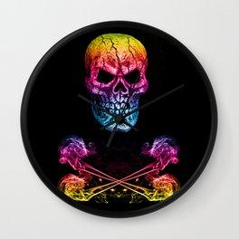 Skull And Crossbones Rainbow Wall Clock
