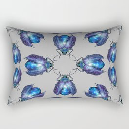 Black Opal Beetles Pattern Rectangular Pillow
