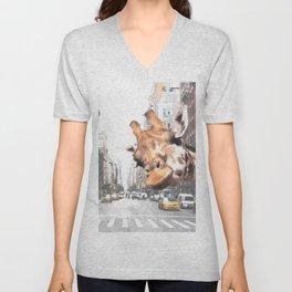 Selfie Giraffe in New York Unisex V-Neck