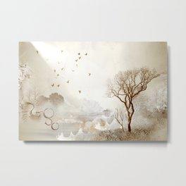 Loch Lovely Abstract Art in Cinnamon and Taupe Metal Print