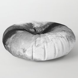 grayscale abstract painting Floor Pillow