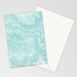 Moki - pastel mint spilled ink japanese watercolor paper marbling marble trendy abstract painting  Stationery Cards