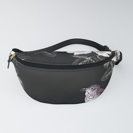 Blackberry Spring Garden Night - Birds and Bees on Black Fanny Pack
